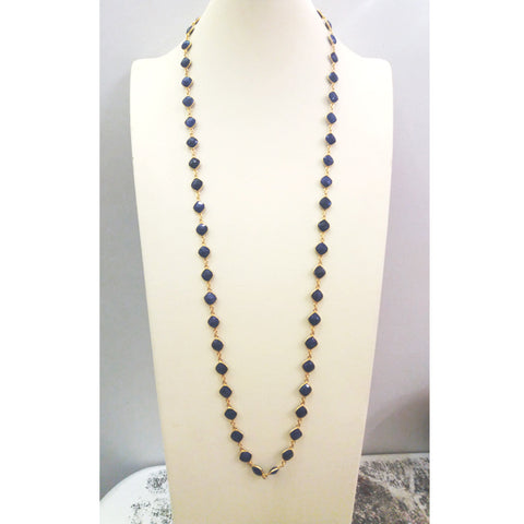 Blue Sapphire Jeweled Chain Necklace