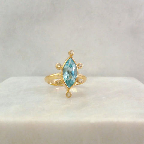 Blue Topaz Marquiz with White Topaz Halo Maxi Ring