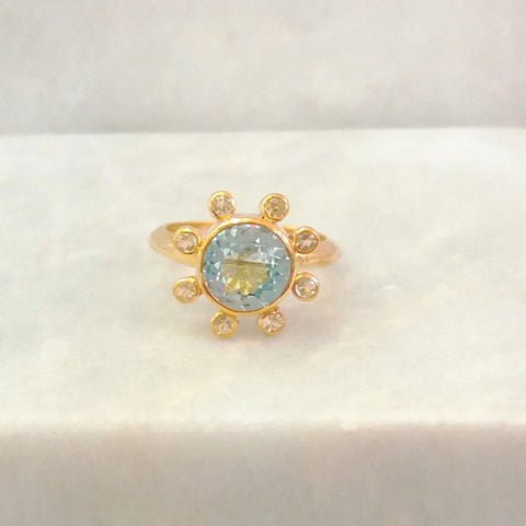Blue Topaz Round with White Topaz Halo Maxi Ring