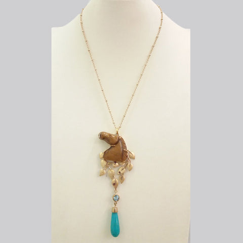 Carved Horse Brown Tigers Eye with Rhodolite Garnet and Amazonite Long Drop Terra Firma Pendant