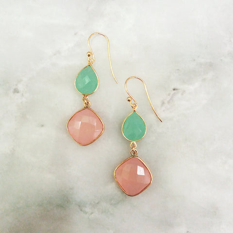 Chalcedony and Rose Quartz Double Drop Earrings