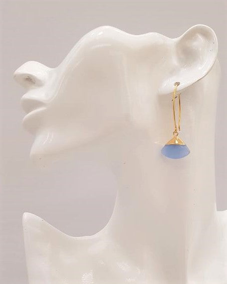 Blue Chalcedony Fan Single Gem Drop V-hook Earrings