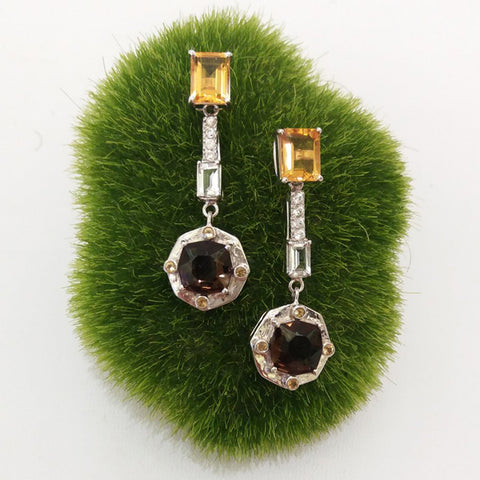 Citrine stud with White Zircon,White Topaz,Citrine & Smokey Quartz Twinset