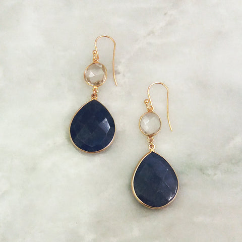 Clear Quartz and Blue Sapphire Double Drop Earrings