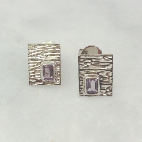 Drift Wood with Amethyst Rectangular Stud Separates Earrings