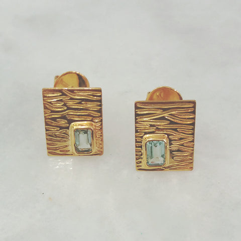 Drift Wood with Blue Topaz Rectangular Stud Separates Earrings