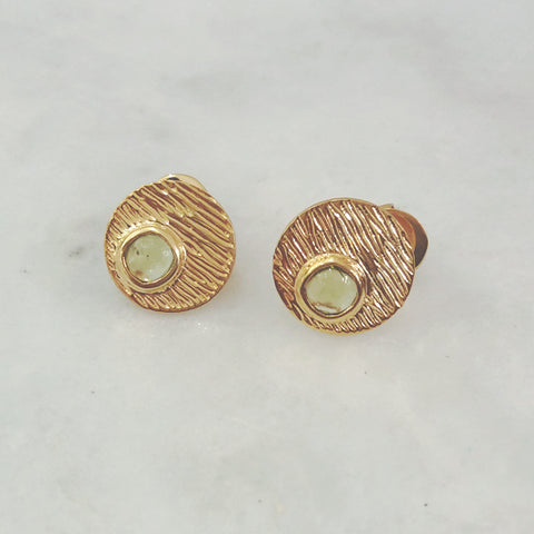 Drift Wood with Lemon Quartz Round Stud Separates Earrings