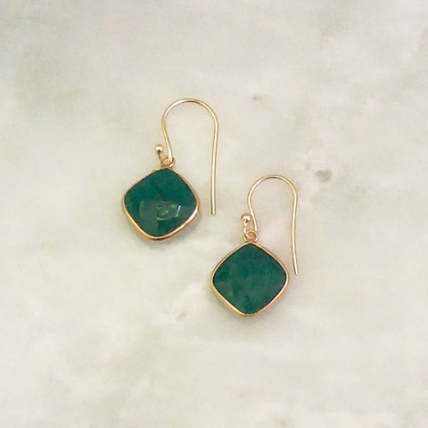 Emerald Single Drop Hook Earrings