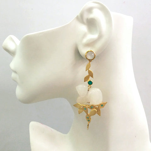 'Foliage' Twinset Earrings with Moonstone, Green Agate & Carved White Agate Monkey Twinset Earrings