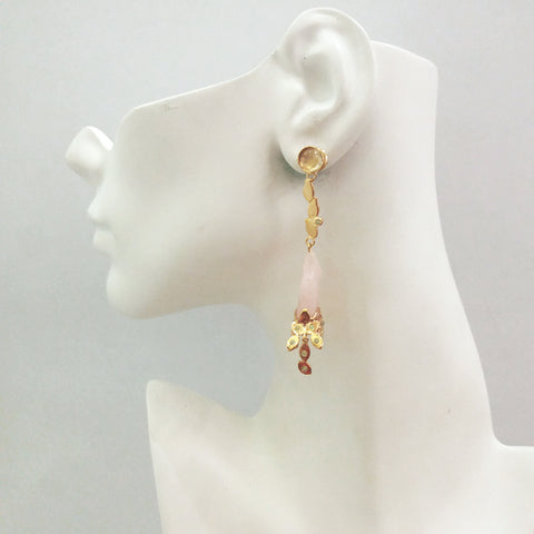 'Foliage' Twinset Earrings with Citrine & Carved Rose Quartz Twinset Earrings