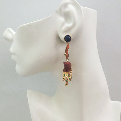 'Foliage' Twinset Earrings with Lapiz Lazuli & Carved Bear Jasper Twinset Earrings
