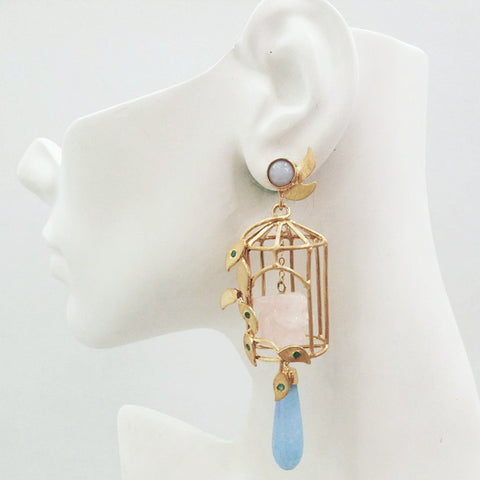 Gazebo Twinset Earrings with Blue Lace  Agate Studs with Detachable Dangles in a Birdcage Design with Green Agates, Rose Quartz Carved Rabbits & Light Blue Jade Drops