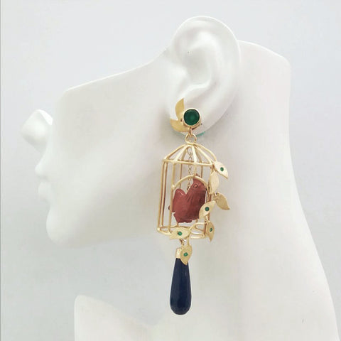 Gazebo Twinset Earrings with Green Agate, Red Jasper Carved Chickens & Blue Jade Drops