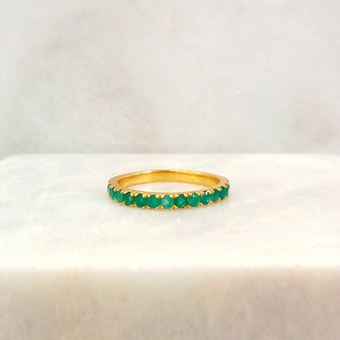 Green Agate Half Eternity Ring