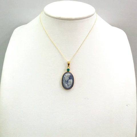 Green Agate with Blue Agate & White Agate & Mother & Child Cameo Necklace