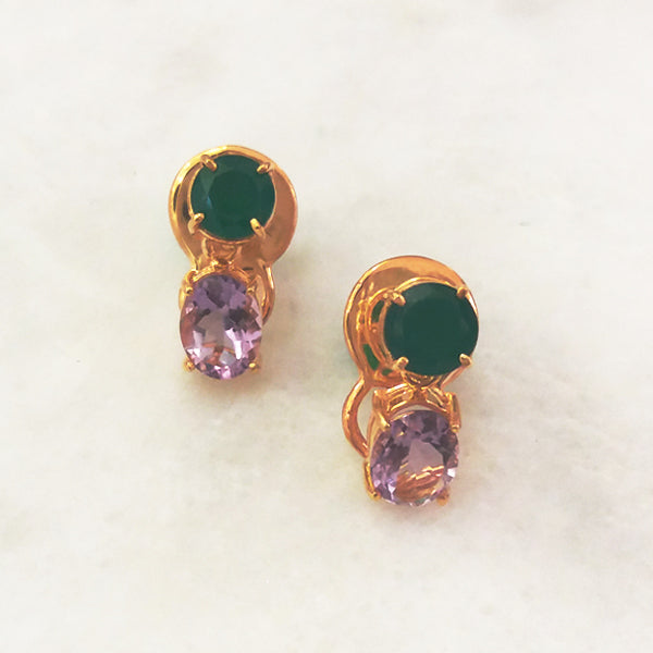 Green Agate & Amethyst Separates Earrings