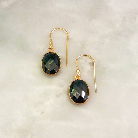 Hematite Single Drop Hook Earrings