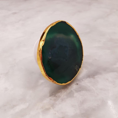 Green Agate Geode Phone Grip