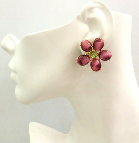 Red Tiger's Eye & Peridot Bloom Earrings