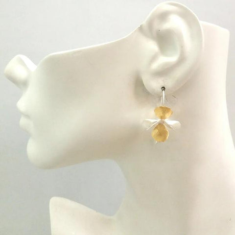 2-tone Full Bloom Drop Earrings