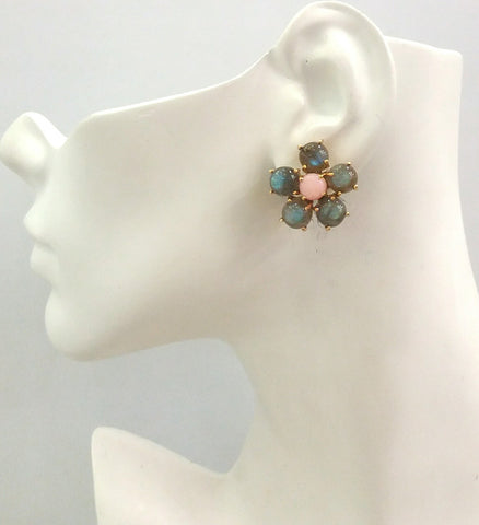 Labradorite & Pink Opal Bloom Earrings