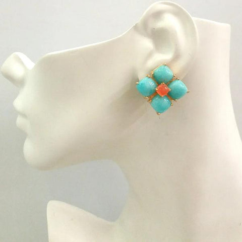 Amazonite & Carnelian Bloom Earrings
