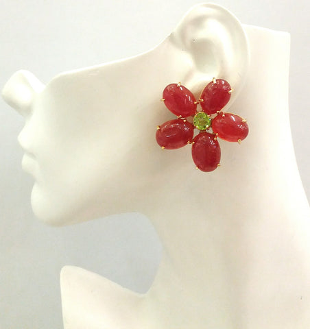 Red Jade & Peridot Bloom Earrings