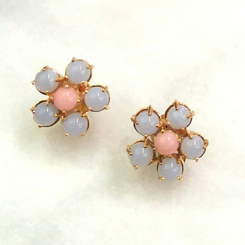 Blue Lace Agate & Pink Opal Bloom Earrings