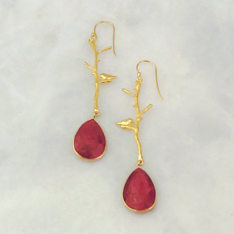 Ibon on Branches with Ruby Double Drop Earrings