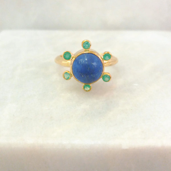 Lapiz Lazuli with Green Agate Halo Maxi Ring