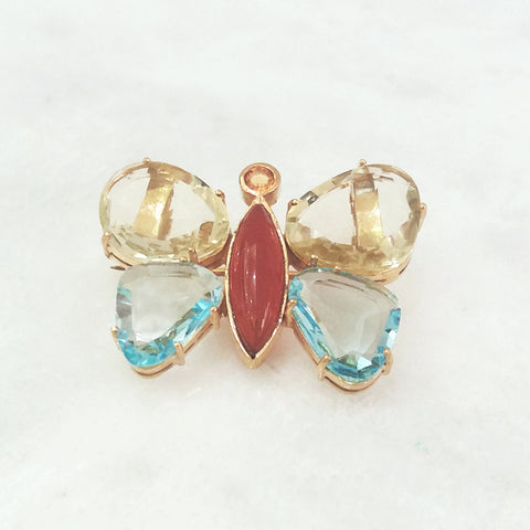 Lemon Quartz, Citrine, Carnelian & Blue Topaz Butterfly Brooch Pin