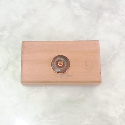 Mahogany with Carnelian & Rhodonite Jewelry Box