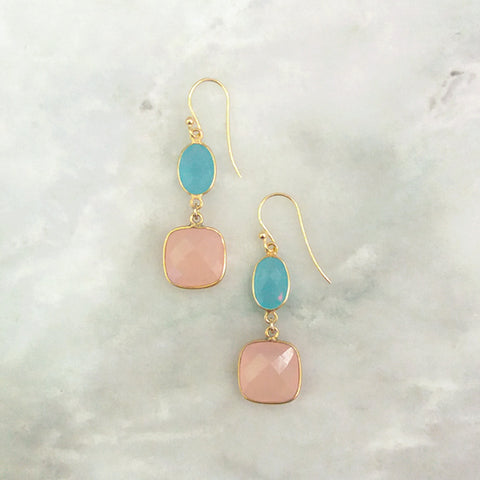 Mint Green Chalcedony and Rose Quartz Double Drop Earrings