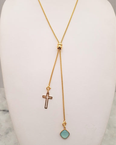 Mint Chalcedony with a Frame Cross Affirmation Slider Necklace 2 Tone