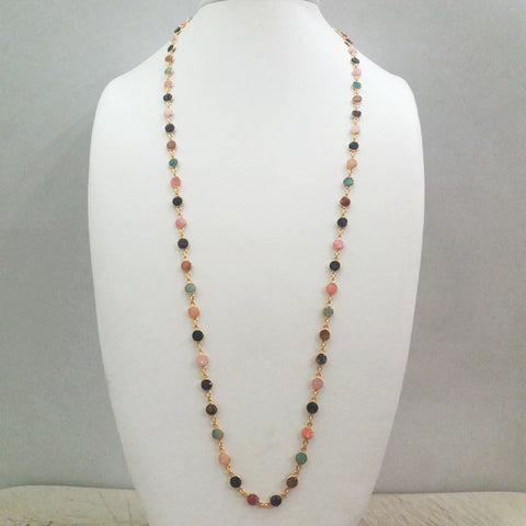 Multi-Color Agate Druzzy Geode Jeweled Chain Necklace