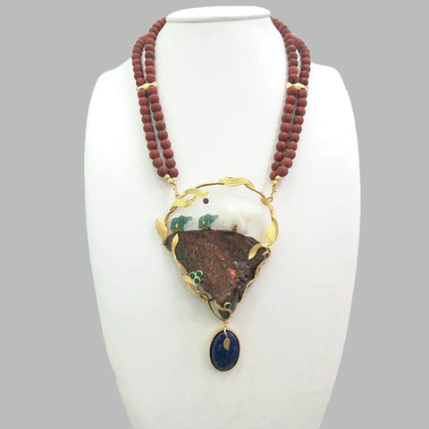 Red Jasper Beads Chain with White &Green Jade Elephant with Ammolite Rock, Green Agate, Rhodolite Garnet Round & Lapiz Lazuli oval Drop Necklace