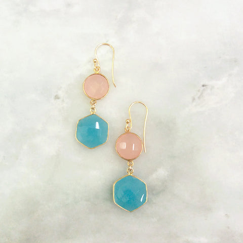 Rose Quartz and Mint Green Chalcedony Double Drop Earrings