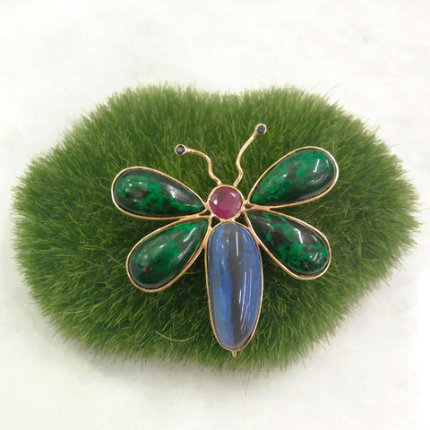 Ruby, Malachite, Blue Sapphire and Labradorite Butterfly Brooch Pin