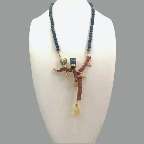 Sodalite Beads & Carved Sodlite Owl, Red Coral Branches & Yellow Quartz Drop & Jade Leaf Necklace