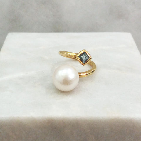 South Sea Pearl with Blue Topaz  Square Ring