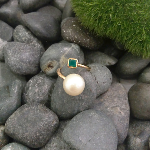 SouthSea Pearl with Green Agate Cocktail Ring