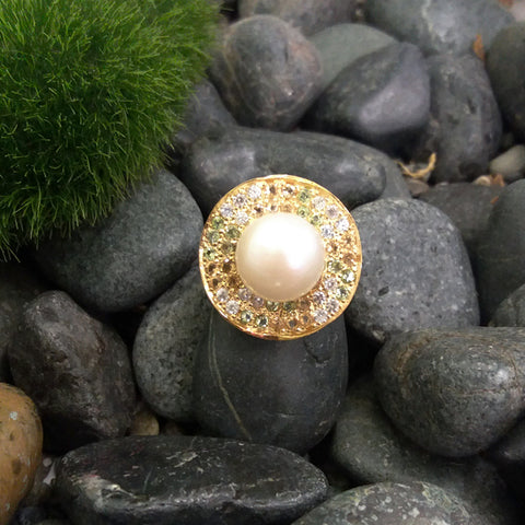 SouthSea Pearl with Peridot, Citrine & White Zircon Cocktail Ring
