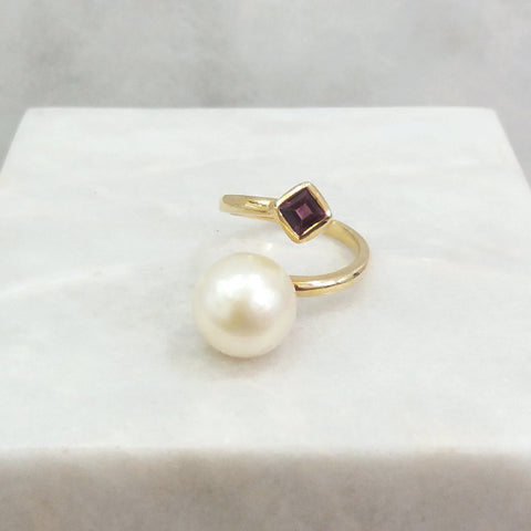 South Sea Pearl with Rhodolite Garnet Cocktail Ring