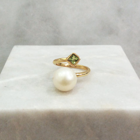 South Sea Pearl with Peridot Square Ring
