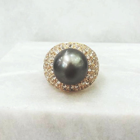 Tahitian Pearl with a pave of White Topazes Cocktail Ring