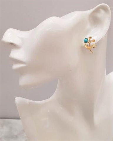 Twin Flower Studs with Turquoise & Pearl