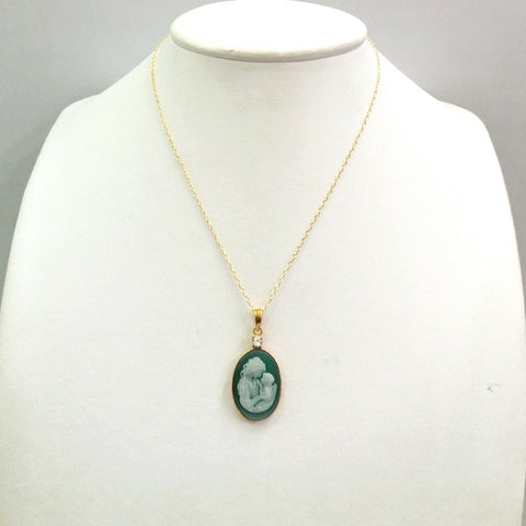 White Topaz with Green Agate & White Agate Mother & Child Cameo Necklace