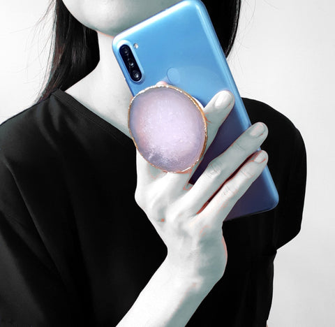 White Agate Geode Phone Grip