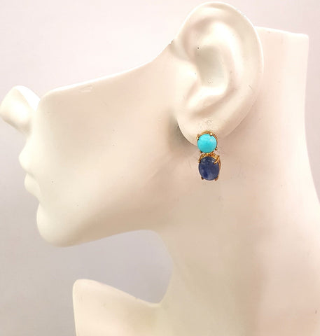 Amazonite & Kyanite Separates Earrings