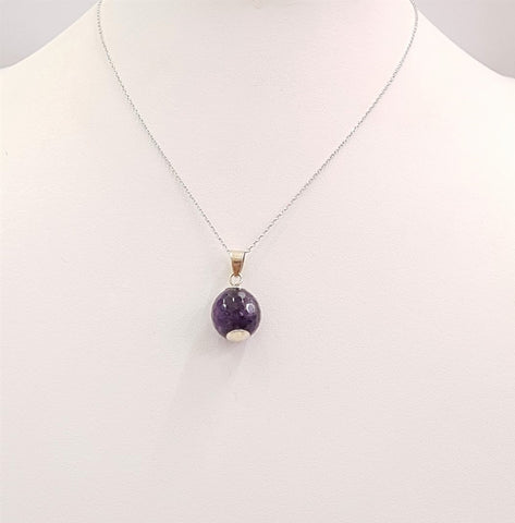 Amethyst Ball Silver Single Pendant